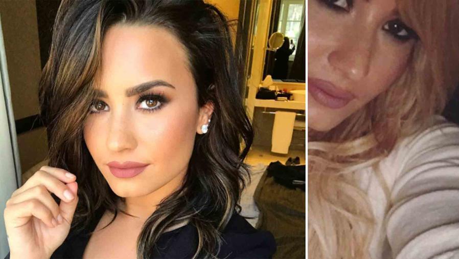 Demi Lovato con el cabello negro y rubio
