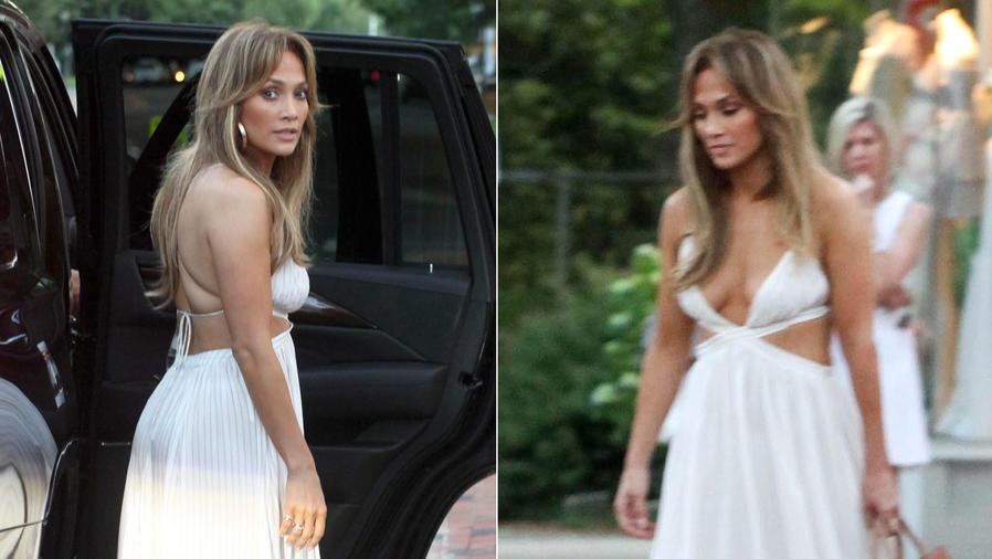 Jennifer Lopez, de shopping, usando un vestido blanco