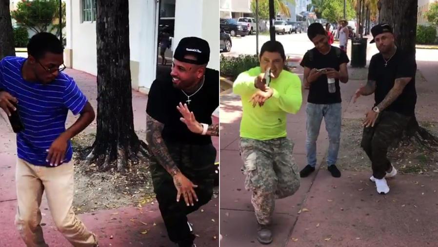 Nicky Jam bailando con sus fans
