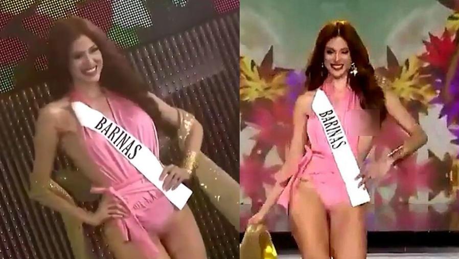 A esta Miss se le escapó una boob en pleno desfile
