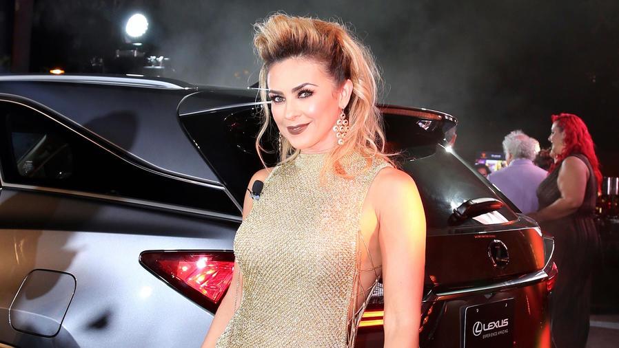 Aracely Arámbula con vestido dorado