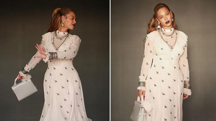 Beyoncé con vestido de print de aves