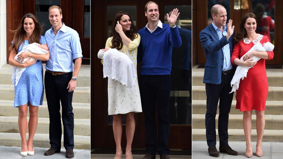 Kate Middleton y el príncipe William en el nacimiento de sus tres hijos