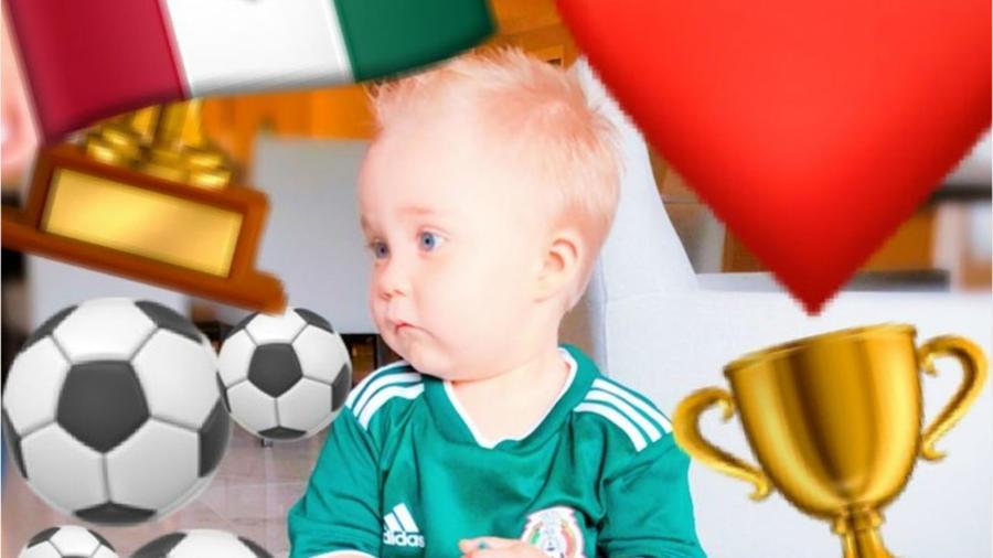 Hijo de Anahí vestido con uniforme de México