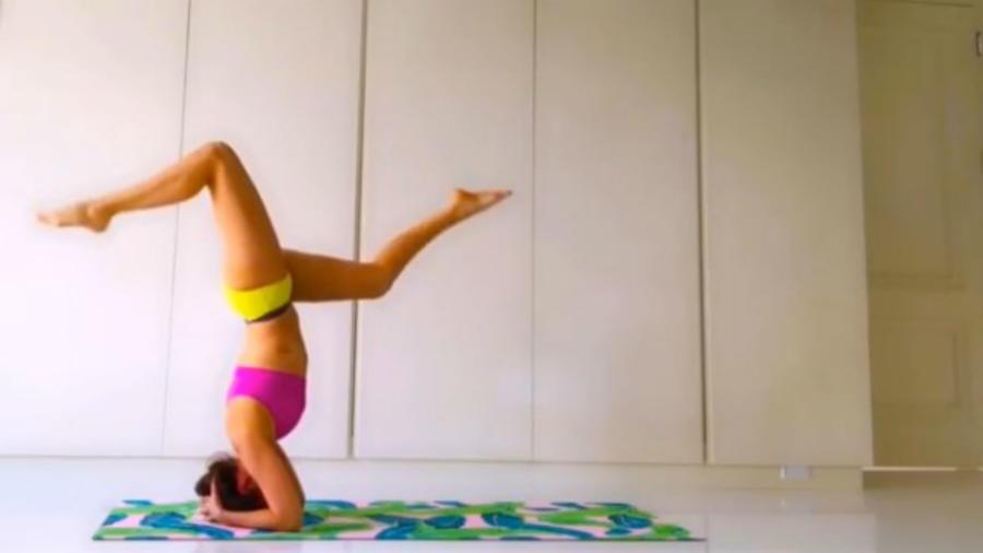 Thalía haciendo ejercicio