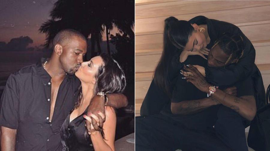 Kim Kardashian con Kanye West, y Kylie Jenner con Travis Scott