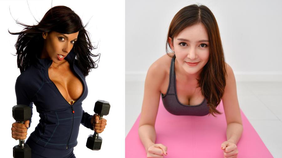 Mujeres haciendo ejercicio para los pechos.