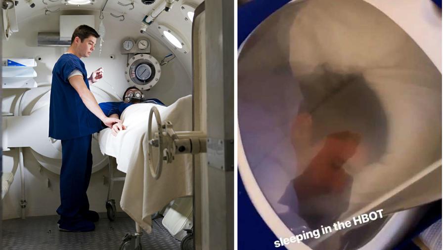 Justin Bieber dentro de cámara hiperbárica
