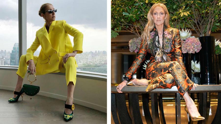 Celine Dion mostrando sus zapatos