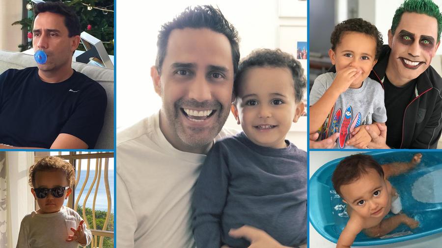 Camilo Montoya con su hijo Lukas