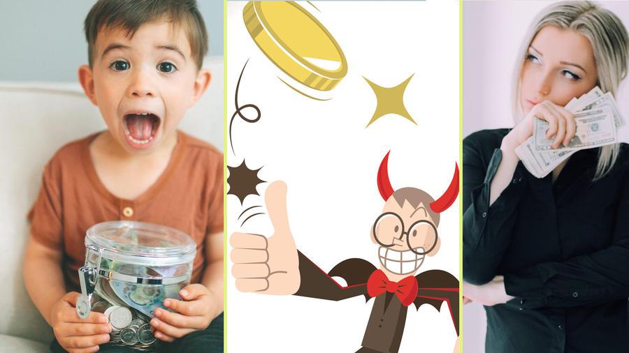 Niño, caricatura y mujer