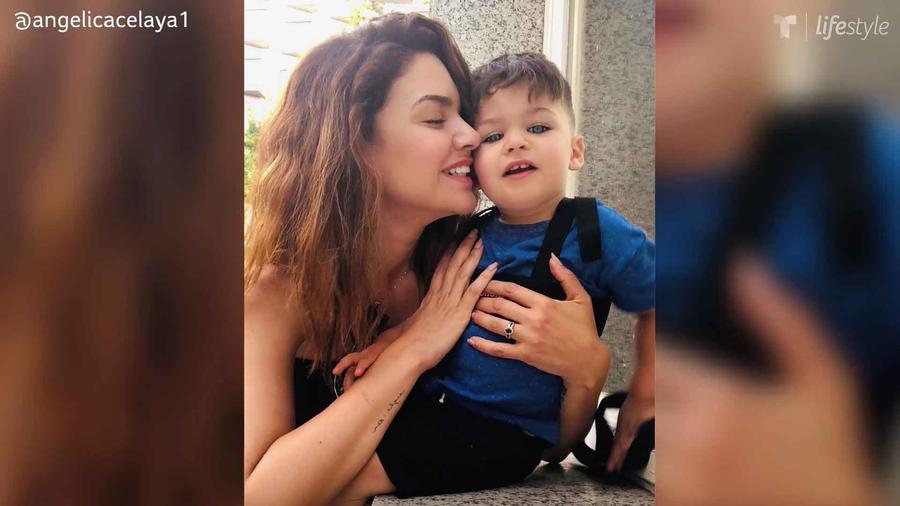 Angélica Celaya con su hijo Ángel Alessandro