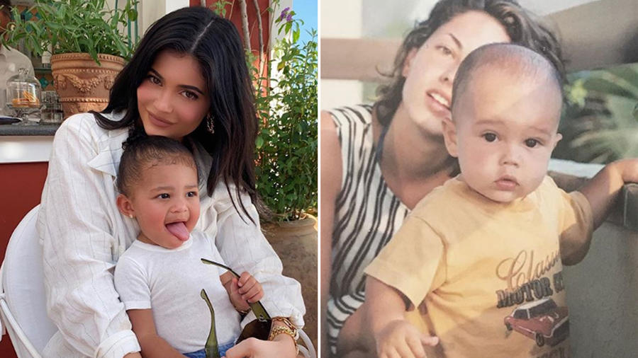 Collage famosas madres jóvenes
