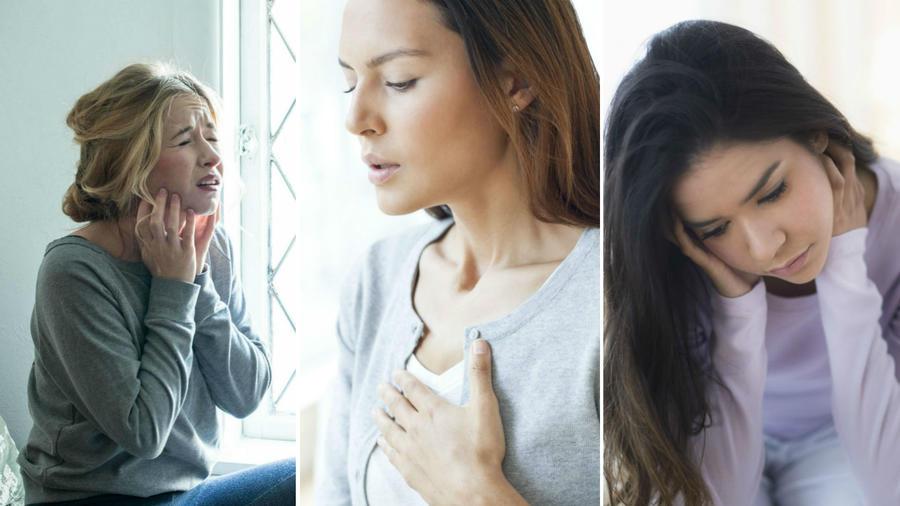 Mujer con dolor de pecho