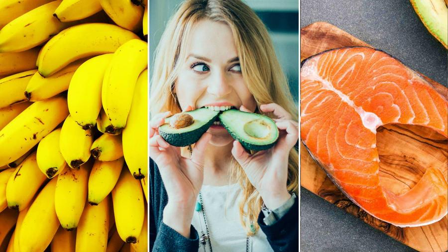 Plátanos, aguacate y salmón