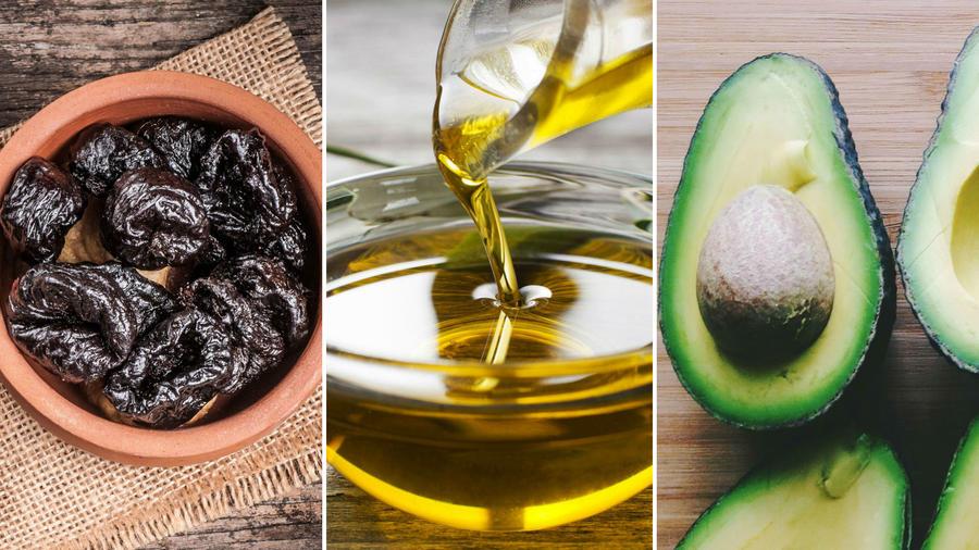 Ciruela pasa, aceite de oliva y aguacate