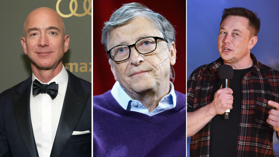 Jeff Bezos, Bill Gates y Elon Musk