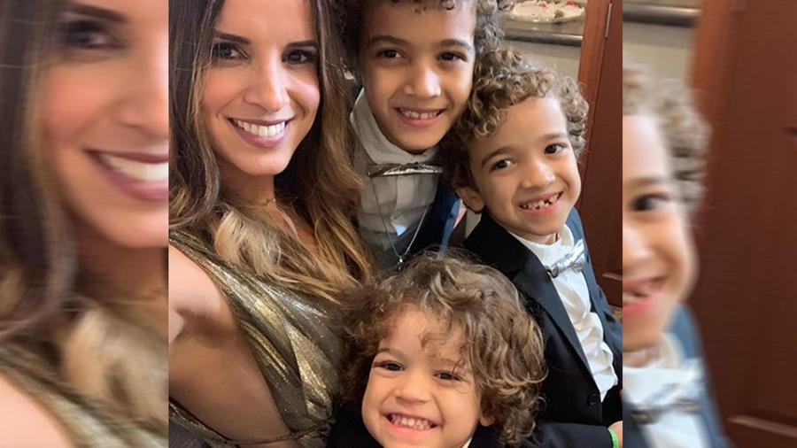 Inger Mendoza con sus hijos