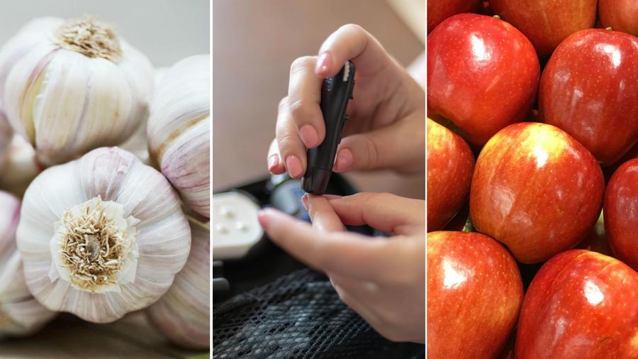 Dientes de ajo, prueba de glucosa en la sangre y manzanas