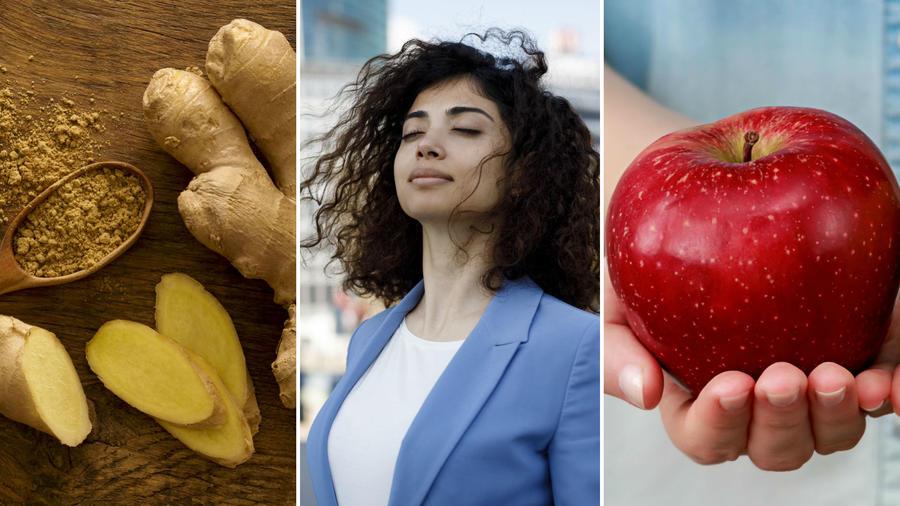 Trozo de jengibre, mujer inhalando y manzana