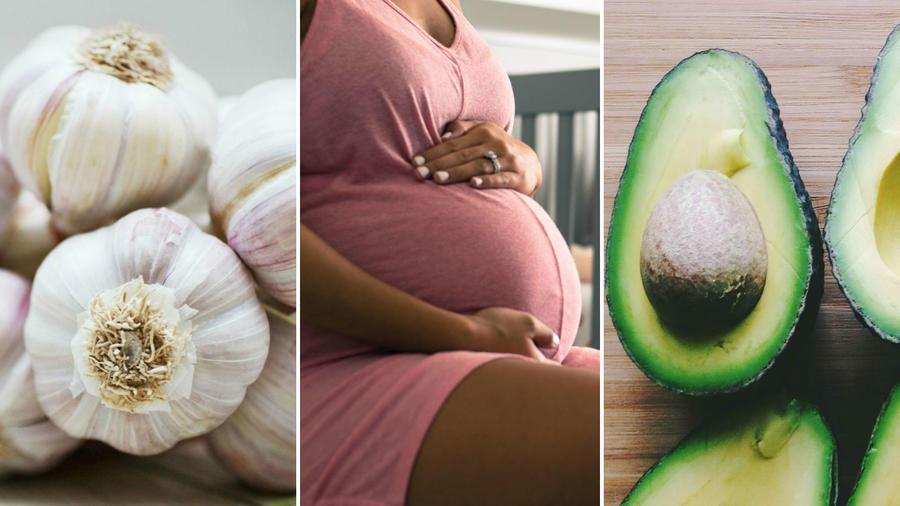 Dientes de ajo, mujer embarazada y aguacates