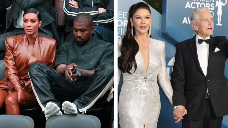 Kim Kardashian y Catherine Zeta-Jones con sus esposos