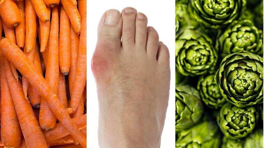 Zanahorias, pie con gota y alcachofas