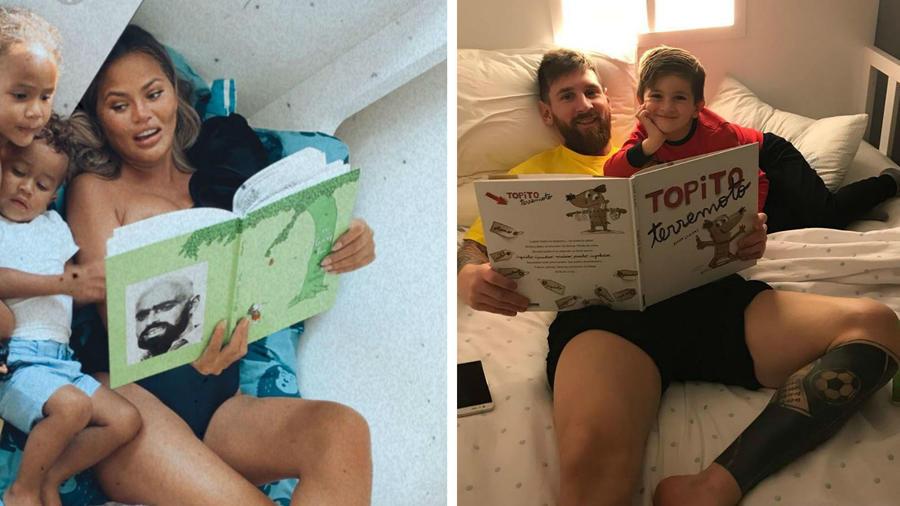 Chrissy Teigen y Messi leyendo a sus hijos