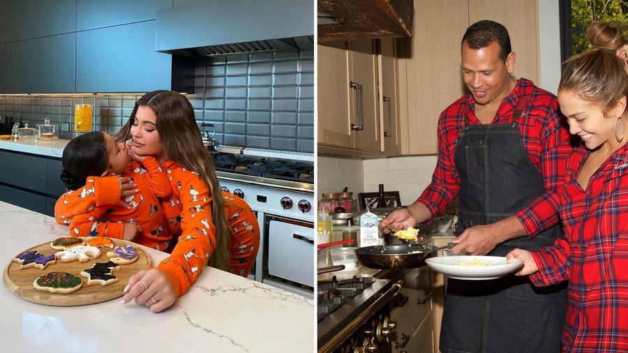Kylie Jenner, Jennifer Lopez y Alex Rodríguez en sus cocinas