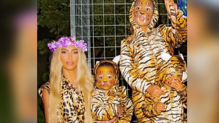 Kim Kardashian y sus hijos disfrazados de Tiger King