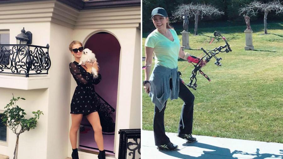 Paris Hilton y Thalía mostrando sus casas