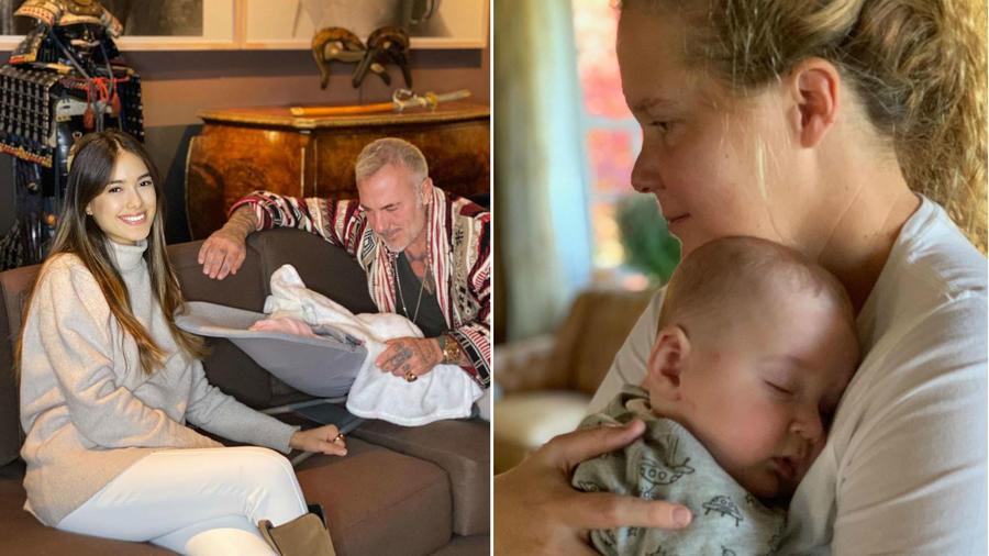 Sharon Fonseca y Amy Schumer con sus bebés