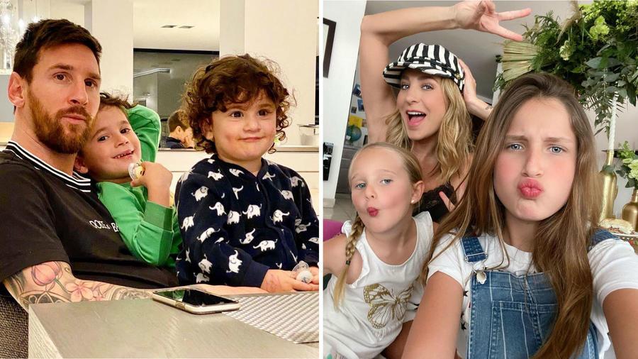 Geraldine Bazán y Leo Messi con sus hijos