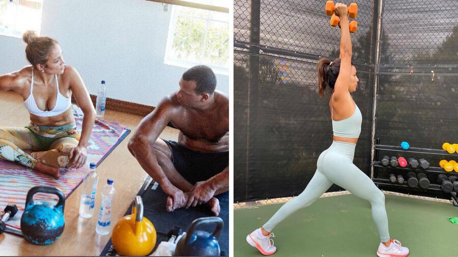 Jennifer Lopez y Eva Longoria haciendo ejercicio