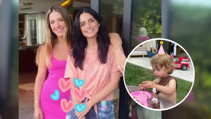 Sarah Kohan y Aislinn Derbez en el cumpleaños de Noah