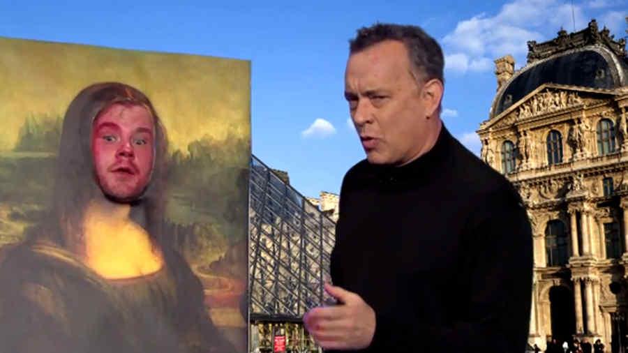 "Tom Hanks en una parodia de ""The Da Vinci Code""."