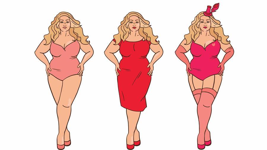 Gráficos de modelos plus size con ropa sexy