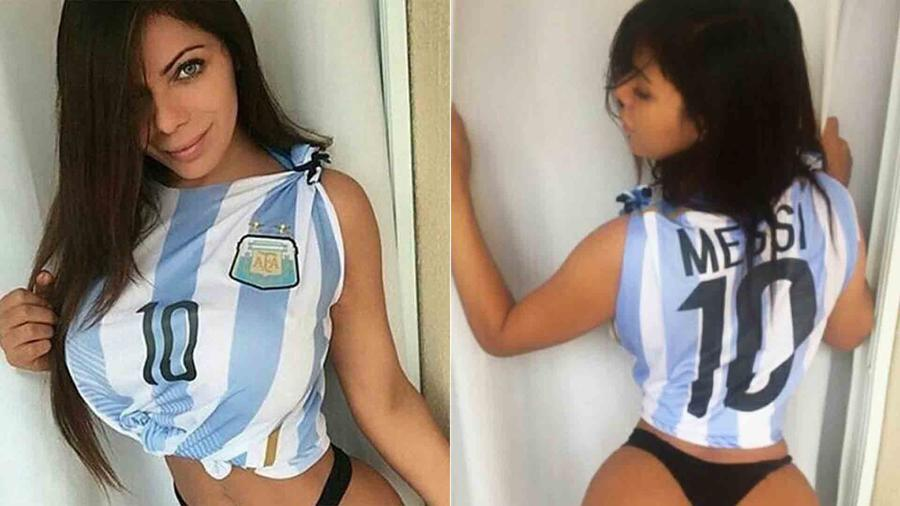 Suzy Cortez con la camiseta de Argentina