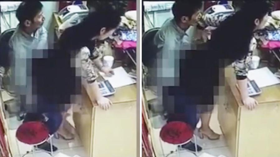Una pareja tiene sexo detrás del mostrador en una tienda en China (VIDEO)