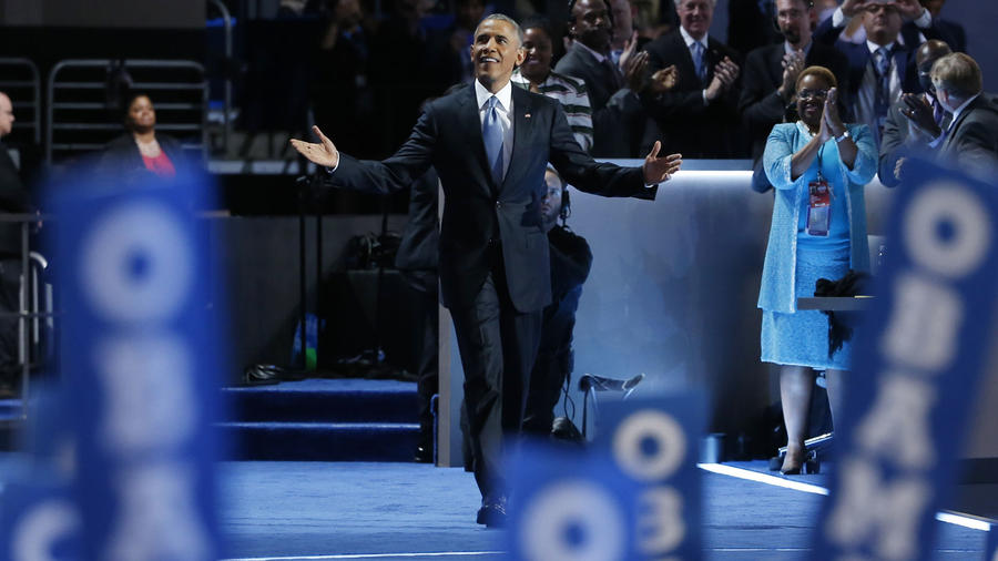 President Barack Obama takes the stage at the Democratic National Convention in Philadelphia, Pennsylvania
