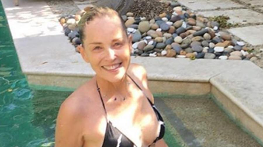 Sharon Stone  impacta con su figura en bikini a los 58 años
