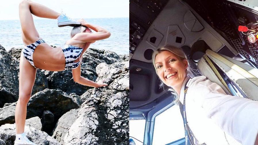 Maria Petterson en la cabina de piloto de un avión