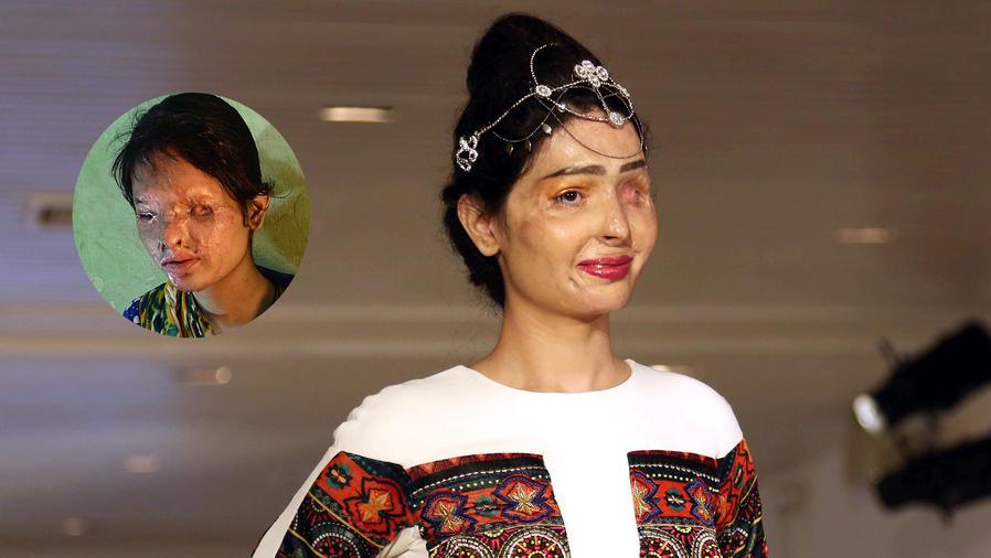 Reshma Qureshi en la pasarela de FTL Moda en Nueva York.