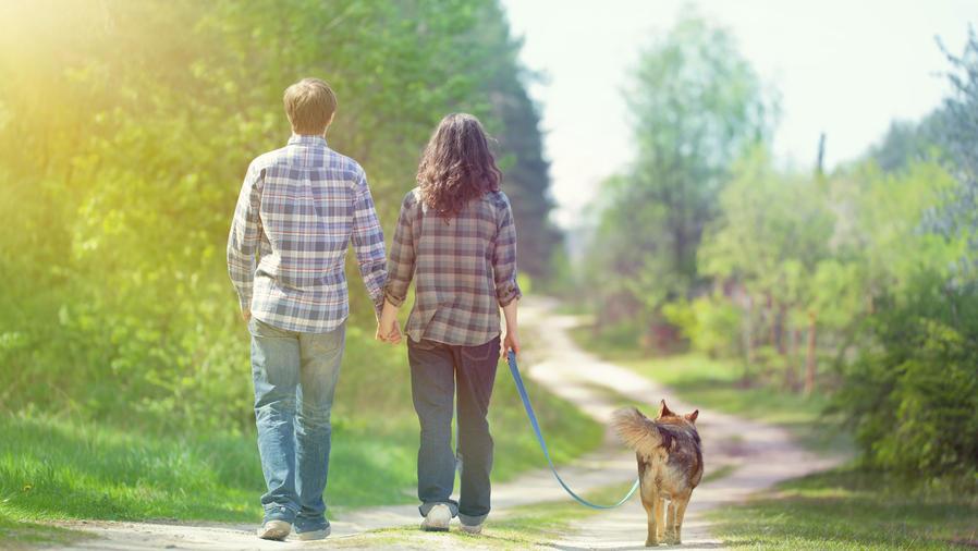 Pareja joven caminando con un perro