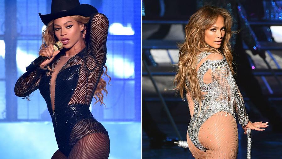 Beyonce y JLo durante sus respectivos shows