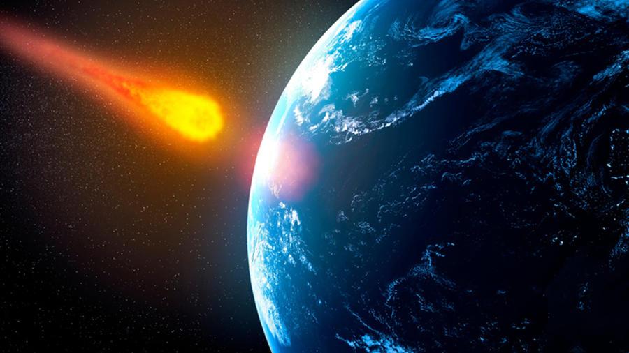 Representación de un asteroide a punto de impactar la Tierra