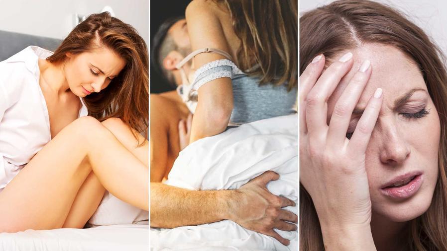 Mujer con dolor durante el sexo