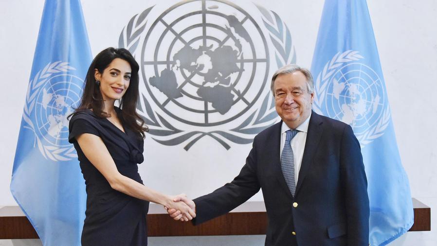 Amal Clooney y António Guterres