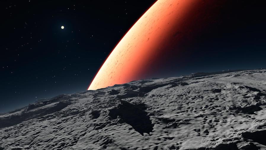 Luna de Marte y planeta Marte