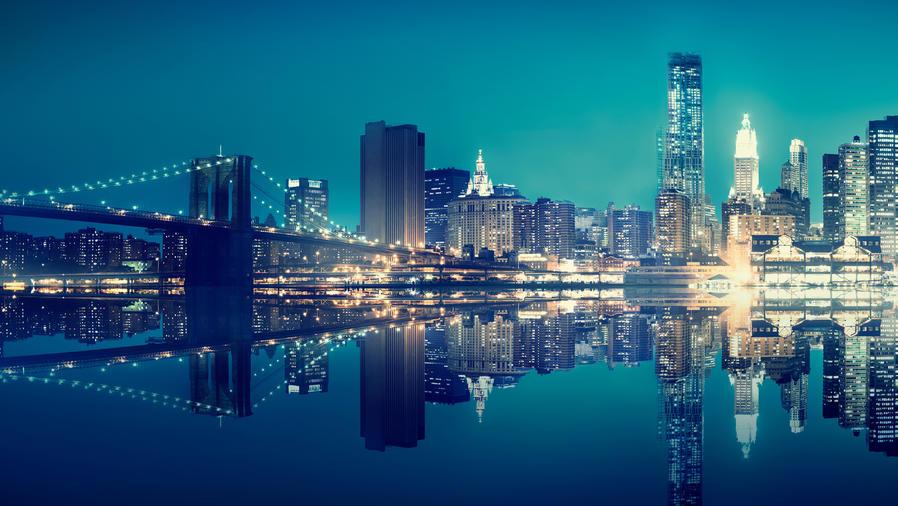 Paisaje nocturno de la ciudad de Nueva York